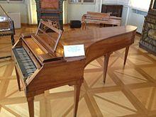 Walter fortepino van Mozart, nu te zien in het Mozart Museum in Salzburg